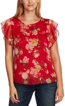 Vince Camuto Floral-Print Flutter-Sleeve Blouse