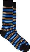 Barneys New York Men's Mixed-Striped Cotton-Blend Mid-Calf Socks