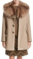 Marc Jacobs Women's Double Face Wool Blend Coat With Removable Genuine Lamb Fur Collar