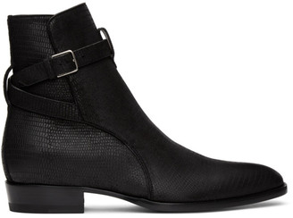Saint Laurent Black Lizard Wyatt Jodhpur Boots