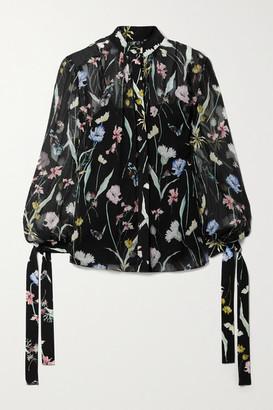 Jason Wu Collection Floral-print Silk-crepon Blouse - Black