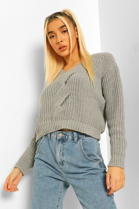 boohoo Cable Twist Detail V Neck Jumper