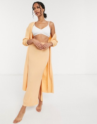 ASOS DESIGN mix and match lounge knitted skirt in peach