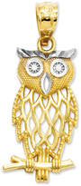 Macy's 14k Gold and Sterling Silver Charm, Owl Charm