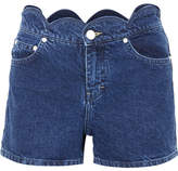 Maje Scalloped Denim Shorts - Mid denim