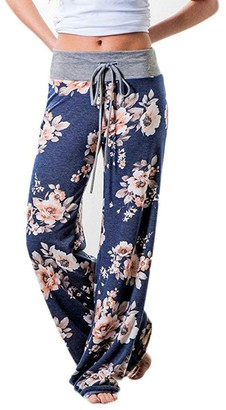 MERICAL Trousers for Women Elastic Mid Waisted Trousers Floral Prints Trousers Women Wide Leg Trousers Drawstring Full Length Trousers Sport Casual Loose Trousers Autumn Ladies Trousers Blue