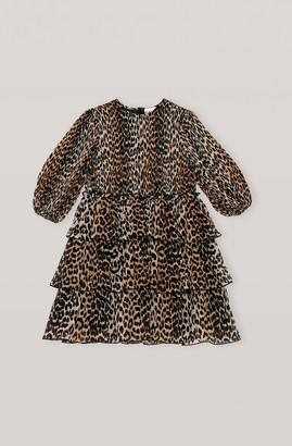 Ganni Georgette Leopard Print Pleated Mini Dress - 36
