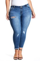 Jolt Raw Edge Step Hem Ankle Jeans (Plus Size)