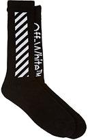 Off-White Men's Diagonal-Striped Cotton Mid-Calf Socks