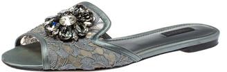 Dolce & Gabbana Grey Lace Crystal Embellished Flat Slide Sandals Size 39
