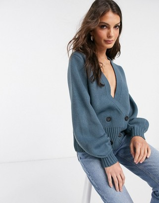 Vila knitted wrap cardigan with button detail in blue