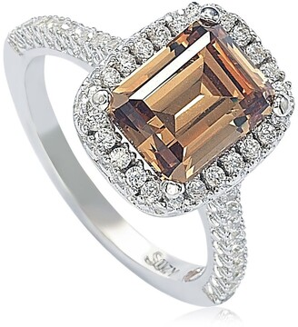 Suzy Levian Sterling Silver Ascher Cut Brown CZ Ring