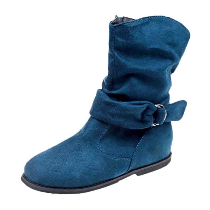 ea888293eb9da Sunmoot-Shoes Sunmoot Suede Ankle Boots Women Zipper Round Toe Soft Flat  Shoes