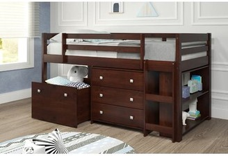 Harriet Bee Renley Twin Low Loft Bed with Drawer and Bookcase Harriet Bee Bed Frame Color: Chocolate
