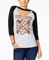 Freeze 24-7 7 7 Juniors' Cotton Dark Rose Graphic Choker T-Shirt