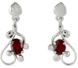 Novica Handmade Pure Love Garnet Dangle Earrings