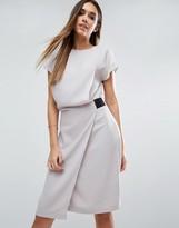 Asos Drape Front Pencil Dress With Elastic Detail