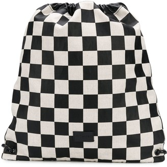 Saint Laurent Checked Drawstring Backpack