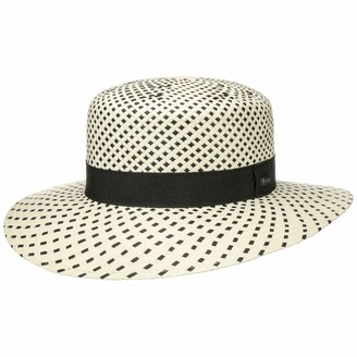 Lipodo Twotone Straw Hat Women - Made in Italy Sun Summer Beach with Grosgrain Band Spring-Summer - One Size Nature-Black