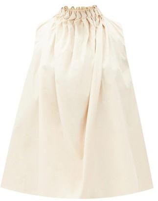 Roksanda Ludo Smocked-neck Cotton-poplin Top - Cream