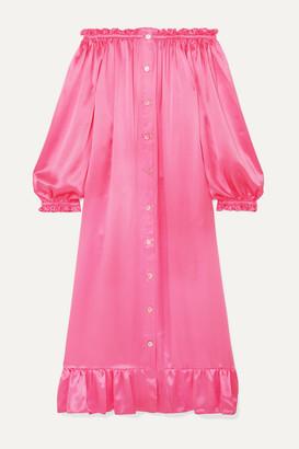 Sleeper Zephyr Ruffled Off-the-shoulder Silk-satin Midi Dress - Pink