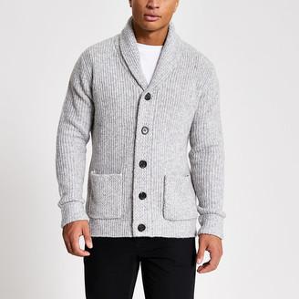 River Island Grey shawl collar slim fit knitted cardigan
