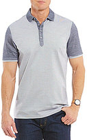 Hart Schaffner Marx Textured Panel Color Block Short-Sleeve Polo Shirt