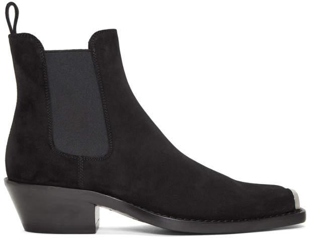 Calvin Klein Black Suede Western Chris Crosta Boot