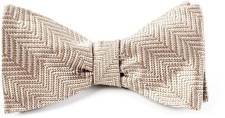 Tie Bar Native Herringbone Light Champagne Bow Tie