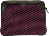 Maje Leather-trimmed mesh iPad case