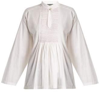 ALEXACHUNG Mandarin-collar Smocked Linen Top - Womens - White