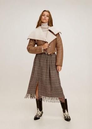 MANGO Sheepskin leather jacket medium brown - XXS-XS - Women