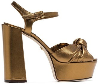 Dolce & Gabbana metallic gold platform 80 leather sandals