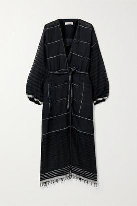 Lemlem Tikuri Embroidered Cotton-voile Robe - Black
