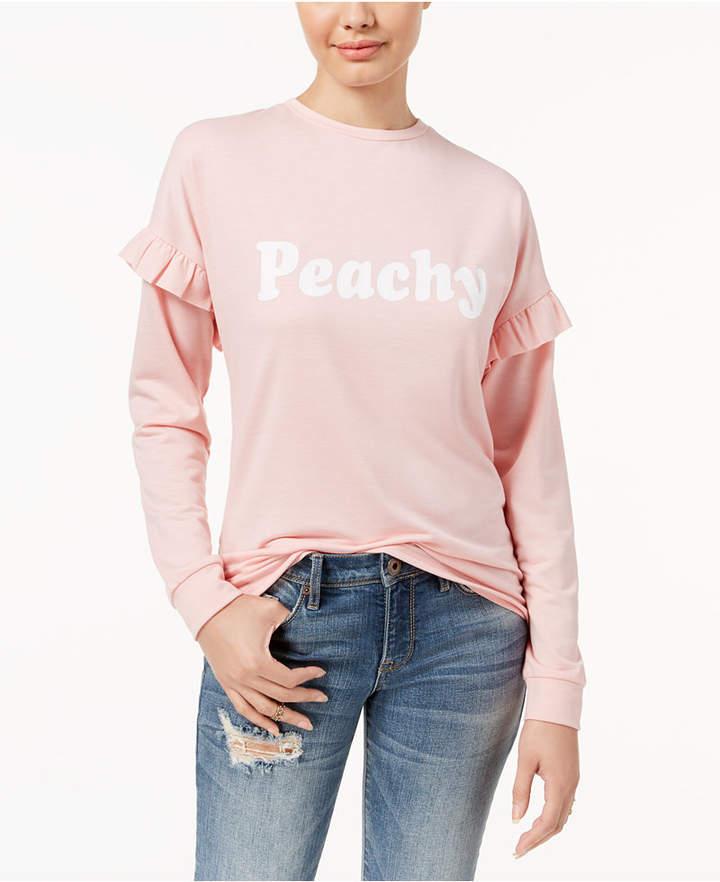 Pretty Rebellious Juniors' Peachy Graphic Ruffled Top