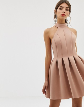 Asos Design DESIGN seamed halter mini prom dress