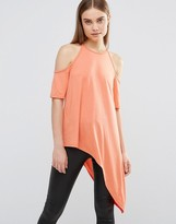 AX Paris Cut Out Shoulder Asymmetric Top