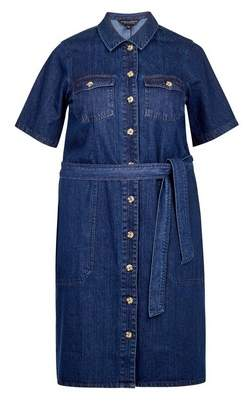 Dorothy Perkins Womens **Curve Blue Denim Shirt Dress, Blue