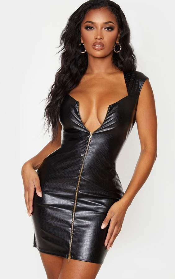 PrettyLittleThing Shape Black Croc Embossed PU Zip Front Bodycon Dress