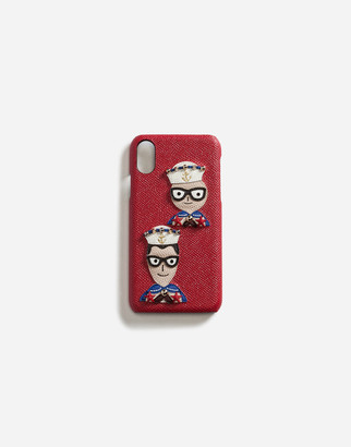 Dolce & Gabbana Iphone X Cover In Dauphine Calfskin With Designers Patches