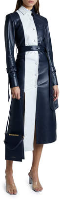Rokh Leather Panel Long-Sleeve Collared Dress