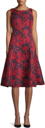Gabby Skye Floral Jacquard Fit Flare Dress