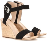 Gianvito Rossi Rikki Mid Wedge Suede Sandals
