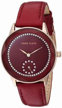 Anne Klein Women's Swarovski Crystal Accented Rose Gold-Tone and Burgundy Leather Strap Watch AK/3458RGBY