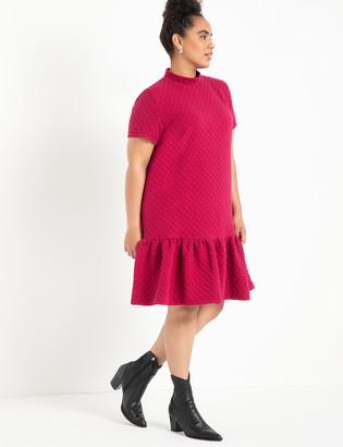 ELOQUII Textured Knit Dropped Waist Dress