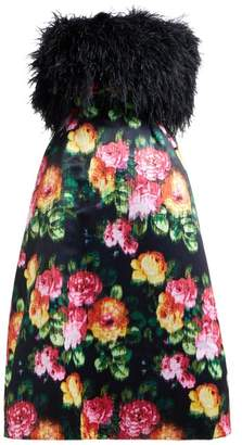 Richard Quinn Floral-print Strapless Satin Midi Dress - Womens - Black Multi