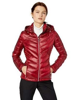 Calvin Klein Women's Short Packable Down Jacket with Hood Zip Front