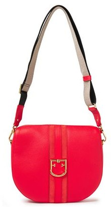 Furla Gioia S Suede-trimmed Pebbled-leather Shoulder Bag