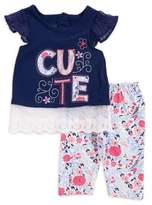 Nannette Baby Girl's Two-Piece Cute Graphic Shirt and Pants Set