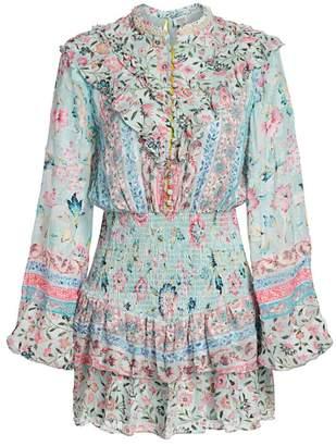 HEMANT AND NANDITA Hana Floral Pearl-Embellished Blouson Mini Dress